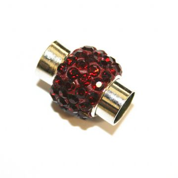 7mm -17mm*14mm Dark red stone pave crystal magnetic clasps -rhodium-23